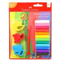 FABER-CASTELL 12 Modelling Clay 150 GM Blister with Jigsaw Tools
