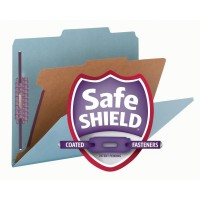 """SMEAD PRESSBOARD CLASSIFICATION FOLDER WITH SAFE SHIELD® FASTENERS 1 DIVIDER 2 INCH EXPANSION BLUE"""