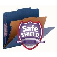 """SMEAD PRESSBOARD CLASSIFICATION FILE FOLDER WITH SAFE SHIELD® FASTENERS 1 DIVIDER, 2 INCH EXPANSION DARK BLUE"""