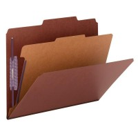 """SMEAD PRESSBOARD CLASSIFICATION FILE FOLDER WITH SAFE SHIELD® FASTENERS 1 DIVIDER 2 INCH EXPANSION RED"""