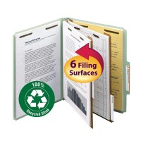 """SMEAD 100% RECYCLED PRESSBOARD CLASSIFICATION FILE FOLDER 2 DIVIDERS 2 INCH EXPANSION GREEN"""