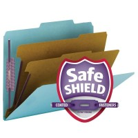 """SMEAD PRESSBOARD CLASSIFICATION FILE FOLDER WITH SAFE SHIELD® FASTENERS 2 DIVIDERS 2 INCH EXPANSION BLUE"""