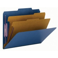 """SMEAD PRESSBOARD CLASSIFICATION FILE FOLDER WITH SAFE SHIELD® FASTENERS 2 DIVIDERS 2 INCH EXPANSION DARK BLUE"""