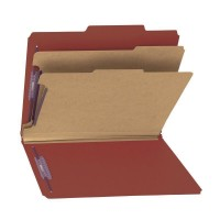 """SMEAD PRESSBOARD CLASSIFICATION FILE FOLDER WITH SAFE SHIELD® FASTENERS 2 DIVIDERS 2 INCH EXPANSION RED"""