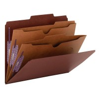 """SMEAD PRESSBOARD CLASSIFICATION FOLDER WITH POCKET DIVIDER AND SAFE SHIELD® FASTENERS 2 DIVIDERS 2 INCH EXPANSION RED"""