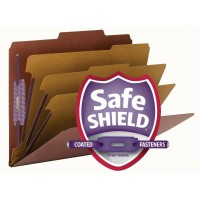 """SMEAD PRESSBOARD CLASSIFICATION FILE FOLDER WITH SAFE SHIELD® FASTENERS 3 DIVIDERS 3 INCH EXPANSION RED"""