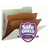 """SMEAD PRESSBOARD CLASSIFICeATION FILE FOLDER WITH SAFE SHIELD® FASTENERS 2 DIVIDERS, 2 INCH EXPANSION GREEN"""