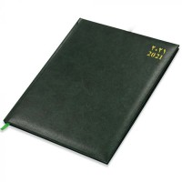 FIS Executive Diary 2021 (Arabic/English/French) 1 Week at a glance, Vinyl, 1 Side Padded, Cover Green