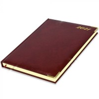 FIS Executive Diary 2021 (English) Bonded Leather, Cover Maroon