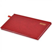 FIS Slim Diary 2021 English (1 Week at a glance) Vinyl, Hard Cover Red