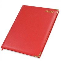 FIS Golden Executive Diary 2021 English/French (1 Week at a glance) Vinyl, Cover Red