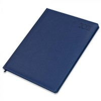 FIS Executive Diary 2021 English/French (1 Week at a glance) Italian PU Padded, Cover, Blue