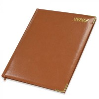FIS Golden Executive Diary 2021 English/French (1 Week at a glance) Vinyl, Cover Brown