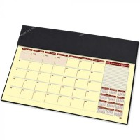 FIS Year Planner 2021 (English/French) with PVC Desk Blotter and Italian PU Flap, Black