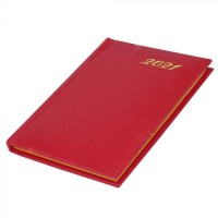 FIS Golden Pocket Diary 2021 English (1 Week at a glance) Vinyl, 1 Side Padded, Red