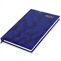 FIS A5 Diary 2021 English (Friday & Saturday Combined) Vinyl, 1 Side Padded, Blue
