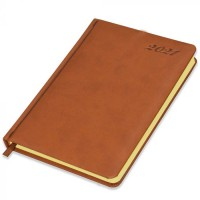 FIS Diary 2021 English (Saturday & Sunday Combined) A5, Brown