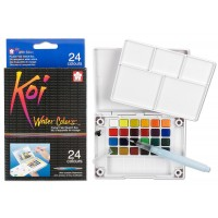 KOI WATERCOLOURS FIELD SKETCH BX W/ BRUSH - 24 PC SET
