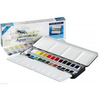 Daler Rowney Aquafine Watercolor 24 Half Pan Metal Box