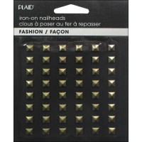 HOT FIX IRON ON - NAILHEAD PYRAMID SHINY GOLD
