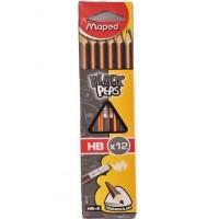 Maped Black Peps HB Pencil+ER Box of 12