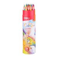 Deli Colored Pencil Paper Tube 24C