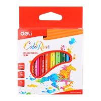 Deli Plastic Mini Colored Pencil Triangle Bright 12C