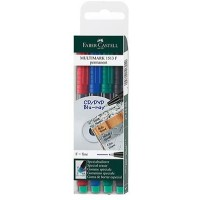 FABER-CASTELL Multimark Fine F 0.6mm Permanent Wallet of 4
