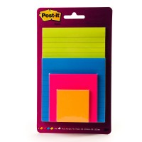 Post-it Super Sticky Notes Rio de Janeiro Collection and Multi-Sizes 4622-SSEU. 4x6, 4x4, 3x3, 2x2 (51x51, 76x76, 101x101, 101x152). 45 sheets/pad, 4 pads/pack