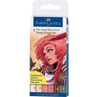 """FABER-CASTELL PITT Artist Pen """"Kaoiro"""" Manga Wallet of 6 Colors"""