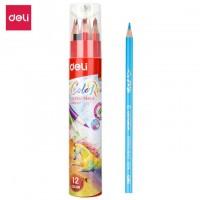 Deli Colored Pencil Paper Tube 12C