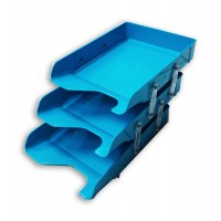 Document Tray 3tier Blue Plastic