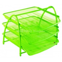 Document Tray 3tier Wiremesh Green
