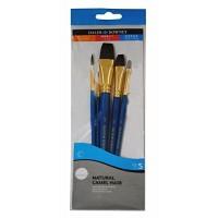 Daler Rowney Simply Set Brush Wallets Synthetic/ Natural Camel Brush Set 5Pc