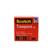 Scotch Transparent Tape in Box 600. 3/4 x 36 yd (19mm x 33m). 1 roll/box