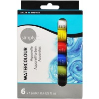 Daler Rowney Simply Watercolour 6x12ml Set,One Size,Multi-Colour