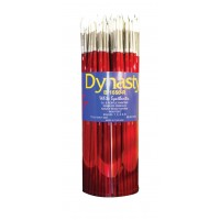 Dynasty Round White Taklon Long Wood Handle Paint Brush Assorted Size Red