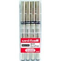 Uniball Fine Delux 0.7 Roller Pen Wallet of 4 Pcs