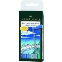 "FABER-CASTELL PITT Artist Pen ""Shades of Blue"" Wallet of 6 pens"