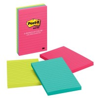 Post-it Notes Neon Colors 660-3AN. 4 x 6 in (101 mm x 152 mm), 100 sheets/pad, 3 pads/pack. Lined