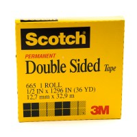 Scotch Double Side Tape in Box 665-1236. 1/2 x 36 yd (12mm x 33m). 1 roll/box