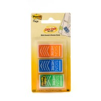 "Post-it Flags ""Sign Here"" 682-SH-OBL in OTG dispenser. 1 x 1.7 in (25.4 mm x 43.2 mm), 20 flags/color, 3 colors/pack"