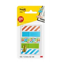 "Post-it Flags ""Printed"" 684-GEO5-EU in OTG dispenser. 1/2 x 1.7 in (11.9 mm x 43.2 mm), 20 flags/color, 5 colors/pack"