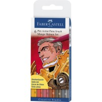 """FABER-CASTELL PITT Artist Pen """"Shonen"""" Manga Wallet of 6 Colors"""