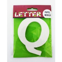 "Wooden Letters White ""Q"""