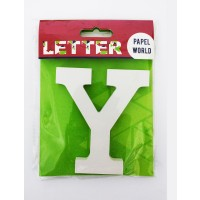 "Wooden Letters White ""Y"""