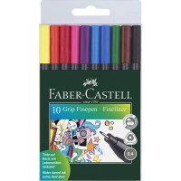 FABER-CASTELL Grip Fine Pen Plastic Wallet of 10 colors 0.4mm