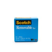 Scotch Magic Removable Tape in Box 811-3436. 3/4 x 36 yd (19mm x 33m). 1 roll/box