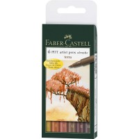 "FABER-CASTELL PITT Artist Drawing Ink Pen ""Terra Earth colors"" Wallet of 6"