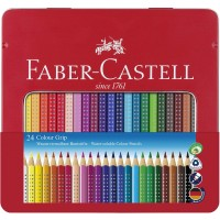 FABER-CASTELL GRIP COL.PENCIL 24 COL TIN